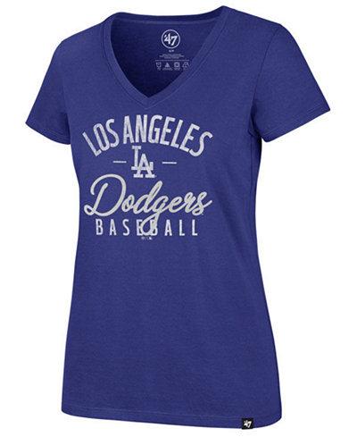 '47 Brand Women's Los Angeles Dodgers Ultra Rival Metallic Script T-Shirt