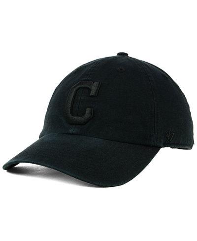 '47 Brand Cleveland Indians Black on Black CLEAN UP Cap