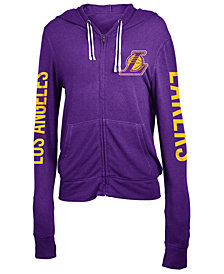 5th & Ocean Women's Los Angeles Lakers Sweater Knit Full-Zip Hoodie