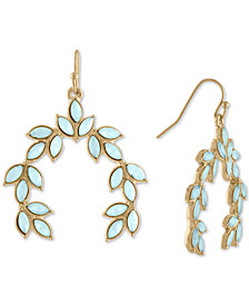 RACHEL Rachel Roy Gold-Tone Colored Stone Leaf Drop Earrings