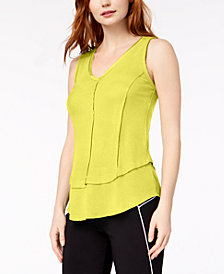 Bar III Ribbed Layered-Look V-Neck Top, Created for Macy's