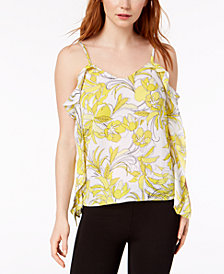 Bar III Ruffled Printed Floral Top, Created for Macy's