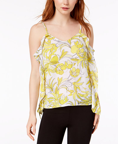 Bar III Ruffled Printed Top, Created for Macy's