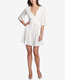 kensie Floral Burnout Wrap Dress