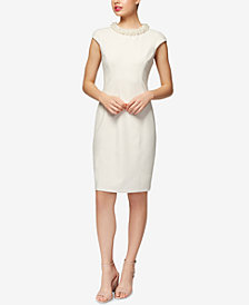 Betsey Johnson Imitation-Pearl-Collar Sheath Dress