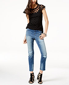 I.N.C. Illusion Top & Studded Frayed-Hem Jeans, Created for Macy's