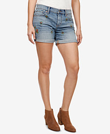Lucky Brand Roll Up Embroidered Denim Shorts