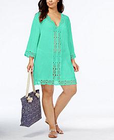 La Blanca Plus Size Cotton Sheer Crochet-Trim Cover-Up