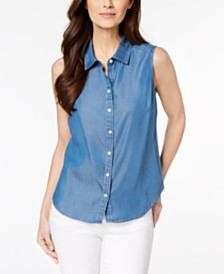 Charter Club Sleeveless Chambray Shirt, Created for Macy's