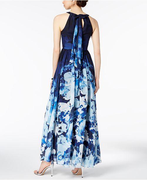 Betsy & Adam Printed Halter Gown - Dresses - Women - Macy\'s