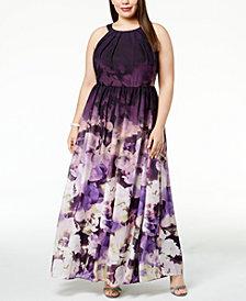 Betsy & Adam Plus Size Floral-Print Halter Gown