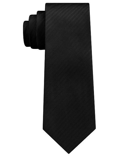 DKNY Men's Street Unsolid Solid Slim Silk Tie