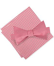 Tommy Hilfiger Men's Lederhosen Chic To-Tie Silk Bow Tie & Gingham Silk Pocket Square Set