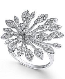Diamond Flower Burst Statement Ring (1-1/3 ct. t.w.) in 14k White Gold