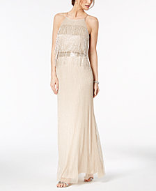 Adrianna Papell Beaded Fringe Halter Gown