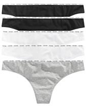 fa4a36f38553d Calvin Klein Plus Size Signature Cotton Logo Thong 5-Pk. QF5120