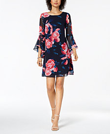 Nine West Floral-Print Bell-Sleeve Chiffon Dress