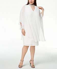 Xscape Plus Size Embellished Chiffon-Overlay Dress