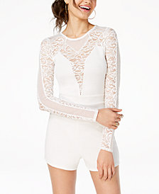 Material Girl Juniors' Illusion Lace Romper, Created for Macy's