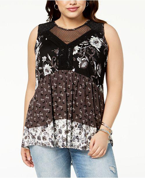 Eyeshadow Trendy Plus Size Mixed-Print Crochet Top