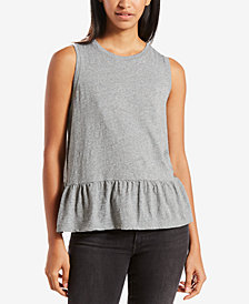 Levi's® Cotton Peplum-Hem Muscle Tank Top