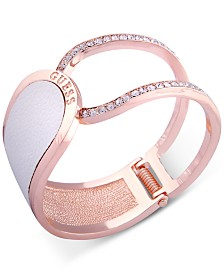 GUESS Rose Gold-Tone Pavé & Faux Python Leather Hinged Cuff Bracelet