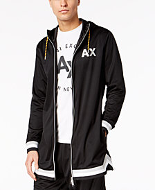 A|X Armani Exchange Men's Oversized Mesh Zip-Front Hoodie