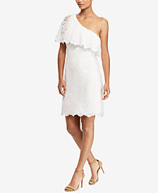 Lauren Ralph Lauren One-Shoulder Overlay Dress
