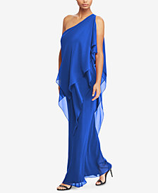 Lauren Ralph Lauren Georgette One-Shoulder Gown