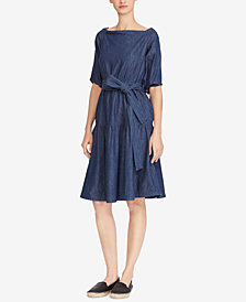 Lauren Ralph Lauren Denim Fit & Flare Cotton Dress