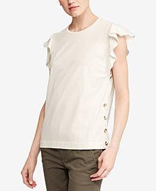 Lauren Ralph Lauren Flutter-Sleeve Cotton T-Shirt