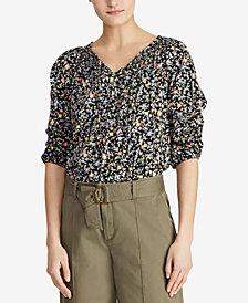 Lauren Ralph Lauren Tie-Front Cotton Jersey Top
