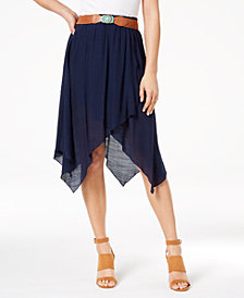 BCX Juniors' Wrap-Front Asymmetrical Gauze Skirt
