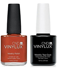 Creative Nail Design Vinylux Fine Vermilion Nail Polish & Top Coat (Two Items), 0.5-oz., from PUREBEAUTY Salon & Spa
