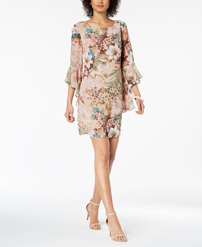 Connected Bell-Sleeve Printed Chiffon Dress