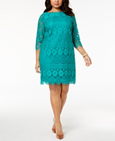 Jessica Howard Plus Size 3/4-Sleeve Lace Dress