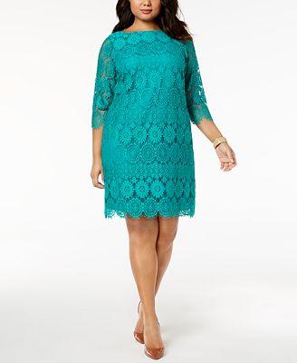 Jessica Howard Plus Size 3 4 Sleeve Lace Dress Dresses Women