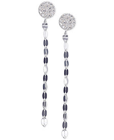 Unwritten Cubic Zirconia Pavé Chain Linear Drop Earrings in Sterling Silver
