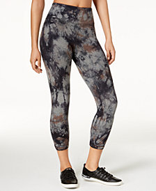 Calvin Klein Performance Tie-Dyed High-Waist Cutout Cropped Leggings