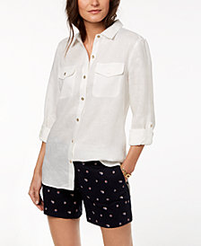 Tommy Hilfiger Linen Roll-Tab-Sleeve Shirt, Created for Macy's