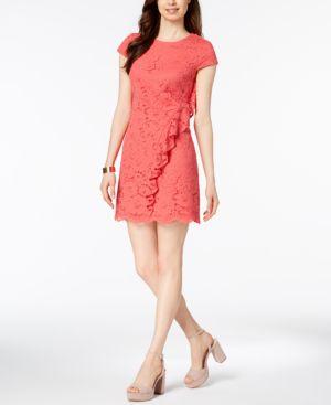 Vince Camuto Ruffled Lace Shift Dress 5905098
