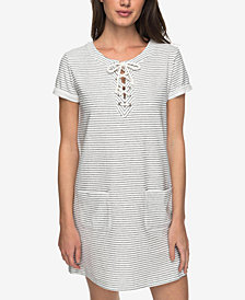 Roxy Juniors' Cotton Beyond The Ocean Lace-Up Dress