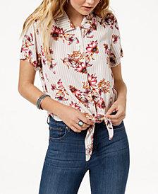 Gypsies & Moondust Juniors' Printed Tie-Front Button-Up Shirt