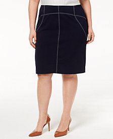 Calvin Klein Plus Size Contrast-Stitched Pencil Skirt