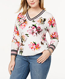 I.N.C. Plus Size Varsity Sweater, Created for Macy's