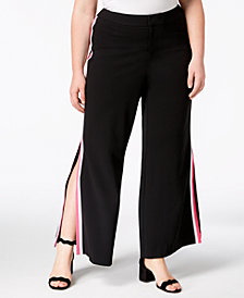 I.N.C. Plus Size Racing-Stripe Wide-Leg Pants, Created for Macy's