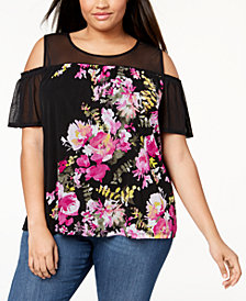 I.N.C. Plus Size Cold-Shoulder Mesh Top, Created for Macy's