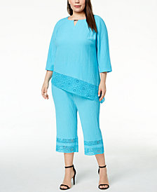 JM Collection Plus Size Asymmetrical Top & Capri Pants, Created for Macy's