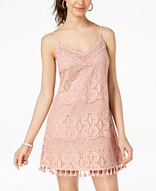 Speechless Juniors' Lace Pompom Slip Dress