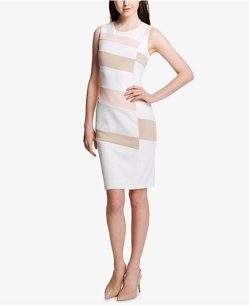 1180fe7b640eb Calvin Klein. Sleeveless Colorblocked Sheath Dress. Be the first to Write a  Review. main image  main image ...